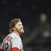 Mark Reynolds, St. Louis Cardinals, at third during the St. Louis Cardinals six run sixth inning during the New York Mets Vs St. Louis Cardinals MLB regular season baseball game at Citi Field, Queens, New York. USA. 19th May 2015. Photo Tim Clayton