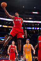 25 February 2011: Center DeAndre Jordan of the Los Angeles Clippers lays the ball up against the Los Angeles Lakers during the first half of the Lakers 108-95 victory over the Clippers at the STAPLES Center in Los Angeles, CA.