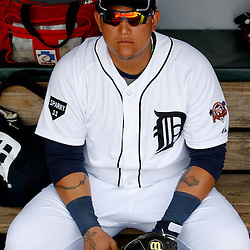 March 9, 2011; Lakeland, FL, USA; Detroit Tigers first baseman Miguel Cabrera (24) sits in the dugout before a spring training exhibition game against the Philadelphia Phillies at Joker Marchant Stadium.  Mandatory Credit: Derick E. Hingle-US PRESSWIRE