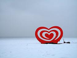 GERMANY SCHLESWIG-HOLSTEIN ECKERNFOERDE 20FEB10 - Langnese ice cream caravan parked on the snowed-in south beach at Eckernfoerde.<br /> <br /> <br />jre/Photo by Jiri Rezac<br /><br /> <br /> © Jiri Rezac 2010