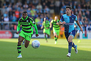Forest Green Rovers Dan Wishart(17) and Wycombe Wanderers Joe Jacobson(3) chase the ball during the EFL Sky Bet League 2 match between Wycombe Wanderers and Forest Green Rovers at Adams Park, High Wycombe, England on 2 September 2017. Photo by Shane Healey.
