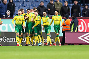 Norwich City celebrate Norwich City forward Josip Drmić (20) scoring a goal during the The FA Cup match between Burnley and Norwich City at Turf Moor, Burnley, England on 25 January 2020.