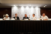 The panel, from left to right, Paul Prudhomme, Jasper White, Wolfgang Puck, Dean Fearing and Larry Forgione.