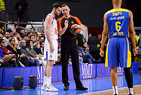 Real Madrid's Rudy Fernandez talking with the referee and Maccabi Fox's Devin Smith during Turkish Airlines Euroleague match between Real Madrid and Maccabi at Wizink Center in Madrid, Spain. January 13, 2017. (ALTERPHOTOS/BorjaB.Hojas)