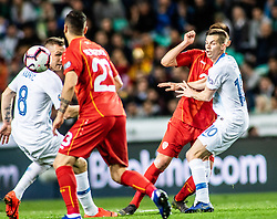 Jasmin Kurtič of Slovenia and Miha Zajc of Slovenia vs Ilija Nestorovski of Macedonia during football match between National teams of Slovenia and North Macedonia in Group G of UEFA Euro 2020 qualifications, on March 24, 2019 in SRC Stozice, Ljubljana, Slovenia.  Photo by Matic Ritonja / Sportida