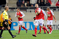 FOOTBALL - FRENCH CHAMPIONSHIP 2010/2011 - L2 - STADE DE REIMS v GRENOBLE FOOT 38 - 22/10/2010 - PHOTO GUILLAUME RAMON / DPPI - LUCAS DEAUX (REIMS)