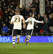Ross McCormack celebrating scoring the equiliser during the Sky Bet Championship match between Fulham and Ipswich Town at Craven Cottage, London, England on 15 December 2015. Photo by Matthew Redman.