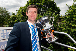 Bristol Rovers Manager, Darrell Clarke with the Vanarama Conference Play-Off Final trophy - Photo mandatory by-line: Dougie Allward/JMP - Mobile: 07966 386802 - 25/05/2015 - SPORT - Football - Bristol - Bristol Rovers Bus Tour
