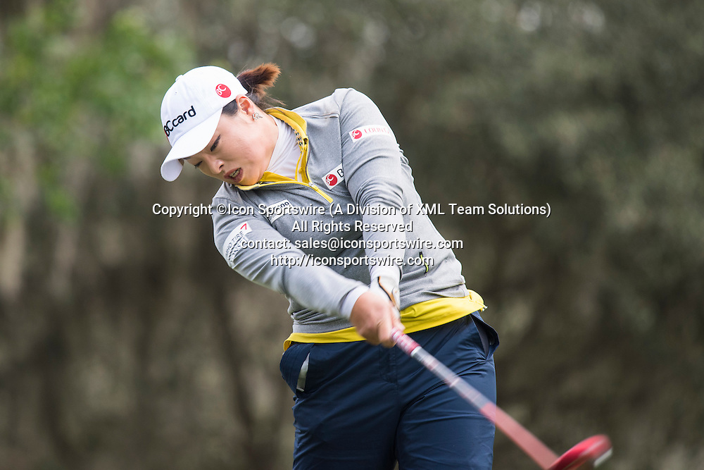 February 06, 2016: Ha Na Jang tees off on hole 18 during the third round of the Coates Golf Championship in Ocala, FL. (Photograph by Roy K. Miller/Icon Sportswire)