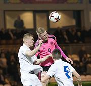 Scotland's Oliver McBurnie battles in the air with Estonia's Henrik Purg - Scotland under 21s v Estonia international challenge match at St Mirren Park, St Mirren. Pic David Young<br />  <br /> - © David Young - www.davidyoungphoto.co.uk - email: davidyoungphoto@gmail.com