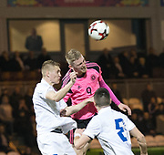 Scotland's Oliver McBurnie battles in the air with Estonia's Henrik Purg - Scotland under 21s v Estonia international challenge match at St Mirren Park, St Mirren. Pic David Young<br />  <br /> - &copy; David Young - www.davidyoungphoto.co.uk - email: davidyoungphoto@gmail.com