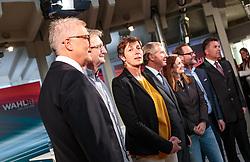 22.04.2018, Wahlzentrum, Salzburg, AUT, Salzburger Landtagswahl, im Bild SPÖ Spitzenkandidat Walter Steidl, FPS Spitzenkandidat Karl Schnell, GRÜNE Spitzenkandidatin Astrid Rössler, ÖVP Spitzenkandidat Wilfried Haslauer, FPÖ Spitzenkandidatin Marlene Svazek, NEOS Spitzenkandidat Sepp Schellhorn, SBG Spitzenkandidat Hans Mayr // during the Salzburg state election 2018 in the election center in Salzburg, Austria on 2018/04/22. EXPA Pictures © 2018, PhotoCredit: EXPA/ JFK