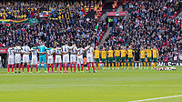 Football - 2016 / 2017 World Cup Qualifier - UEFA Group F: England vs. Lithuania<br /> <br /> The teams observe a minute silence for the victims of the Westminster attack. Wreaths lie on the pitch at Wembley.<br /> <br /> COLORSPORT/DANIEL BEARHAM