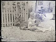 vintage image of boy with pet dog