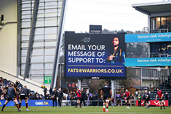 The big screen shows the email address for fans to show support for Michael Fatialofa of Worcester Warriors after his recent injury against Saracens - Mandatory by-line: Robbie Stephenson/JMP - 11/01/2020 - RUGBY - Sixways Stadium - Worcester, England - Worcester Warriors v Enisei-STM - European Rugby Challenge Cup
