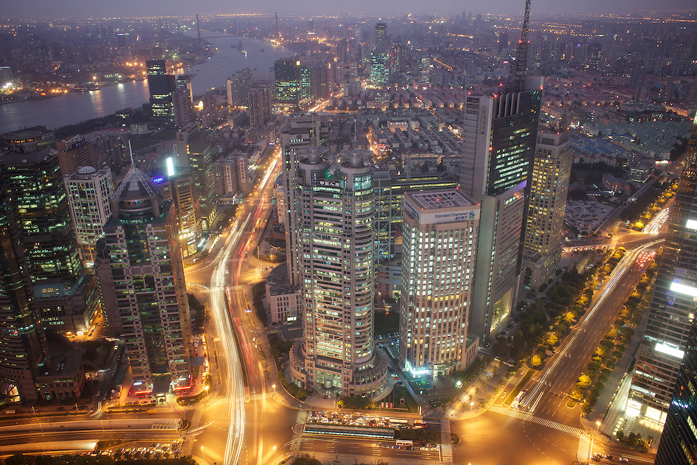 Shanghai's financial district...Photo: Tom Pietrasik.Shanghai, China. 2011