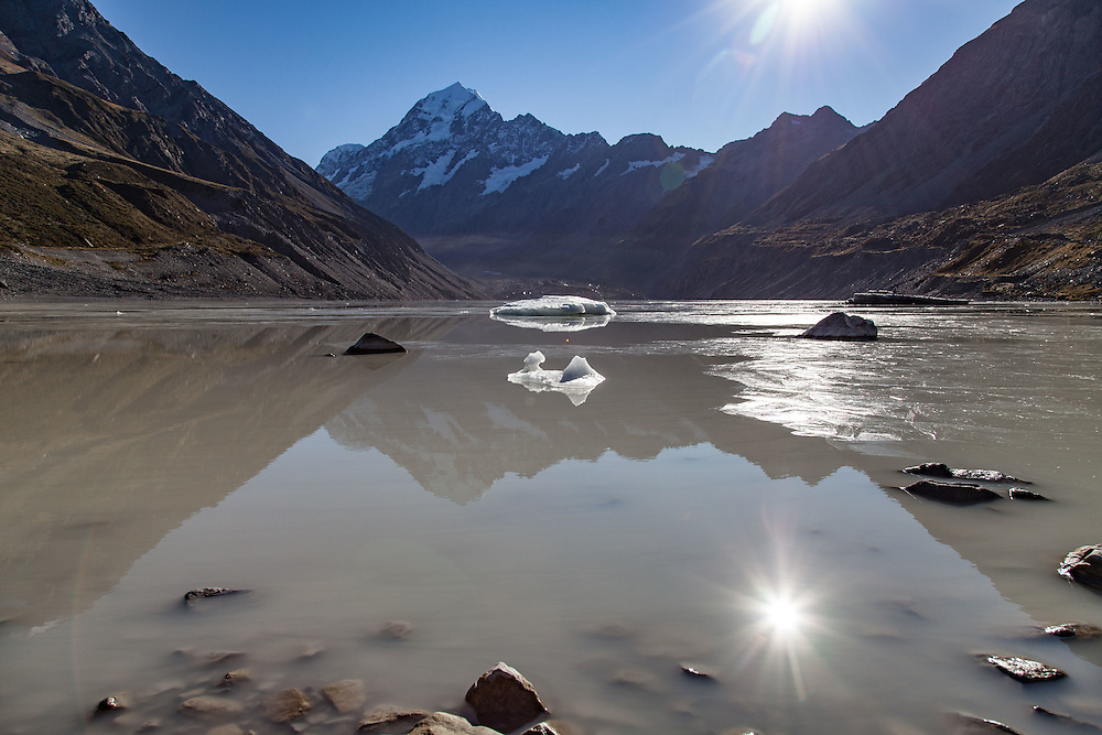 Hooker Lake, iced over for the most part and full of glacier chunks below Mt Cook