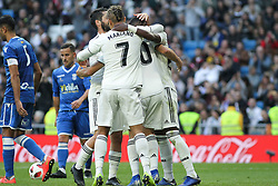 December 6, 2018 - Madrid, Madrid, Spain - Players of Real Madrid celebrating a goal during the King Throphy Spanish Championship,  football match between Real Madrid and Melilla on December 06, 2018 at Santiago Bernabeu stadium  in Madrid, Spain. (Credit Image: © AFP7 via ZUMA Wire)