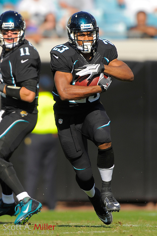 Jacksonville Jaguars running back Rashad Jennings (23) runs up field during the Detroit Lions 31-14 win at EverBank Field on November 4, 2012 in Jacksonville, Florida. ..©2012 Scott A. Miller..