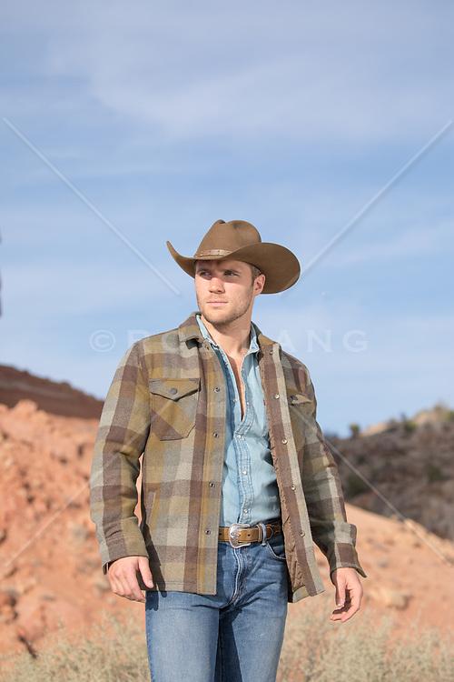 cowboy walking through a rugged landscape