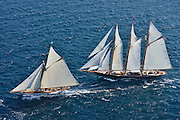 "France Saint - Tropez October 2013, Classic yachts racing at the Voiles de Saint - Tropez<br /> <br /> C1,MARIQUITA,""33,7"",19M JI AURIQUE/1911,WILLIAM FIFE,<br /> <br /> CAG,SHENANDOAH OF SARK,54,GOELETTE AURIQUE/1902,T.E TERRIS"