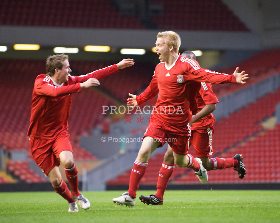 LIVERPOOL, ENGLAND - Friday, April 24, 2009: Liverpool's Lauri Dalla Valle celebrates scoring the opening goal against Birmingham City during the FA Youth Cup Semi-Final 2nd Leg match at Anfield. (Pic by David Rawcliffe/Propaganda)
