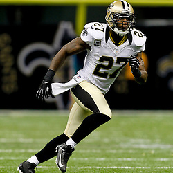 September 23, 2012; New Orleans, LA, USA; New Orleans Saints safety Malcolm Jenkins (27) against the Kansas City Chiefs during the second half of a game at the Mercedes-Benz Superdome. The Chiefs defeated the Saints 27-24 in overtime. Mandatory Credit: Derick E. Hingle-US PRESSWIRE