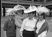 Easter Bonnet Competition.  (R54)..1987..16.04.1987..04.16.1987..As part of an Easter Promotion The Kilkenny Design Shop in Nassau Street, Dublin sponsored an Easter bonnet design competition. There follows a series of images showing some of the fabulous designs put forward. Unfortunately we do not have the caption card naming the individuals who took part, if you know any of them why not let us know at irishphotoarchive.ie and we will gladly add to the caption...Image shows some of the entrants in the Easter Bonnet competition sponsored by The Kilkenny Design Shop, Nassau Street,Dublin.