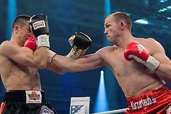 12.03.2016, Jahnsportforum, Neubrandenburg, GER, Boxgala, WBA Weltmeisterschaftskampf, im Bild v.l. Juergen Braehmer (Germany) vs Eduard Gutknecht (Germany), WBA Light Heavyweight World Championship // during the WBA Light Heavyweight World Championship Boxgala at the Jahnsportforum in Neubrandenburg, Germany on 2016/03/12. EXPA Pictures © 2016, PhotoCredit: EXPA/ Eibner-Pressefoto/ Koch<br /> <br /> *****ATTENTION - OUT of GER*****