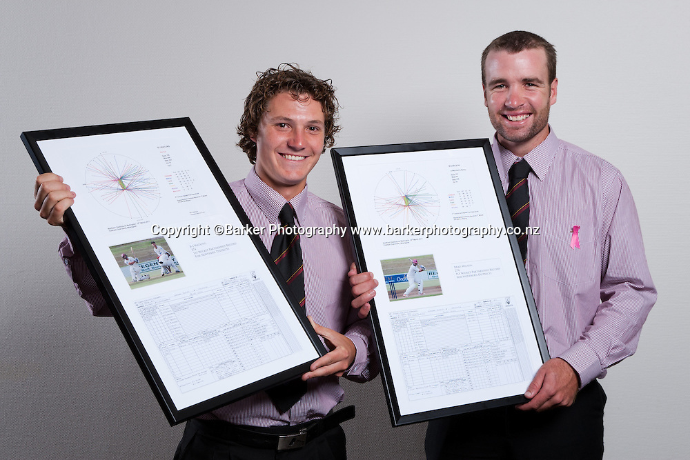 Northern Districts Cricket Awards, BJ Watling and Brad Wilson with framed awards in recognition of their record first wicket partnership of 274 for ND against Wellington, Tainui Novotel Hotel, Friday 8 April 2011, Hamilton, New Zealand.  Photo: Stephen Barker/Barker Photography/PHOTOSPORT  ©Barker Photography www.barkerphotography.co.nz