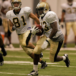 08 August 2009: Rookie running back P.J. Hill (43) runs with the ball during the New Orleans Saints annual training camp Black and Gold scrimmage held at the team's indoor practice facility in Metairie, Louisiana.