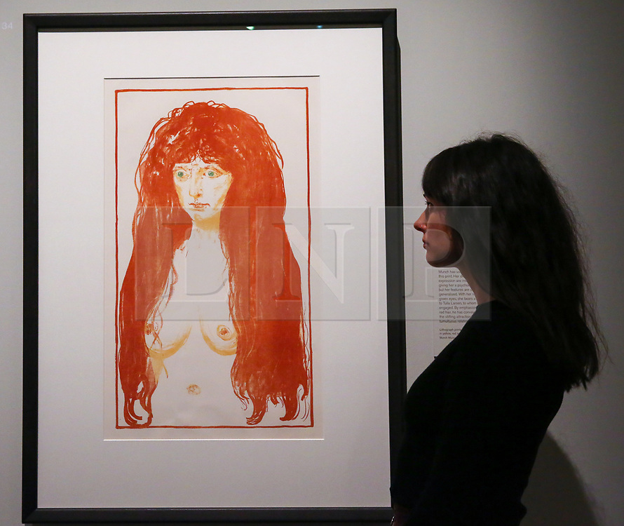 """© Licensed to London News Pictures. 08/04/2019. London, UK. A staff member views Edvard Munch's """"Woman with Red Hair and Green Eyes: Sin, 1902"""". Munch had used an unknown model for this print. Her direct pose and piercing expression are intentionally striking, giving her a psychological intensity, but her features are deliberately generalised. With her red hair and green eyes, she bears a resemblance to Tulla Larsen, to whom<br /> he was briefly engaged. By emphasising her abundant red hair, he has conveyed something of the stifling attraction he felt during his tumultuous relationship with Larsen. <br /> <br /> The work of Norwegian artist Edvard Munch (1863-1944) - """"Edvard Munch: love and angst"""" at the British Museum opens from 11 April until 21 July 2019. The exhibition focus on Munch's remarkable and experimental prints – an art form which made his name and at which he excelled throughout his life – and will examine his unparalleled ability to depict raw human emotion. It will be the largest exhibition of Munch's prints in the UK for 45 years. Photo credit: Dinendra Haria/LNP"""