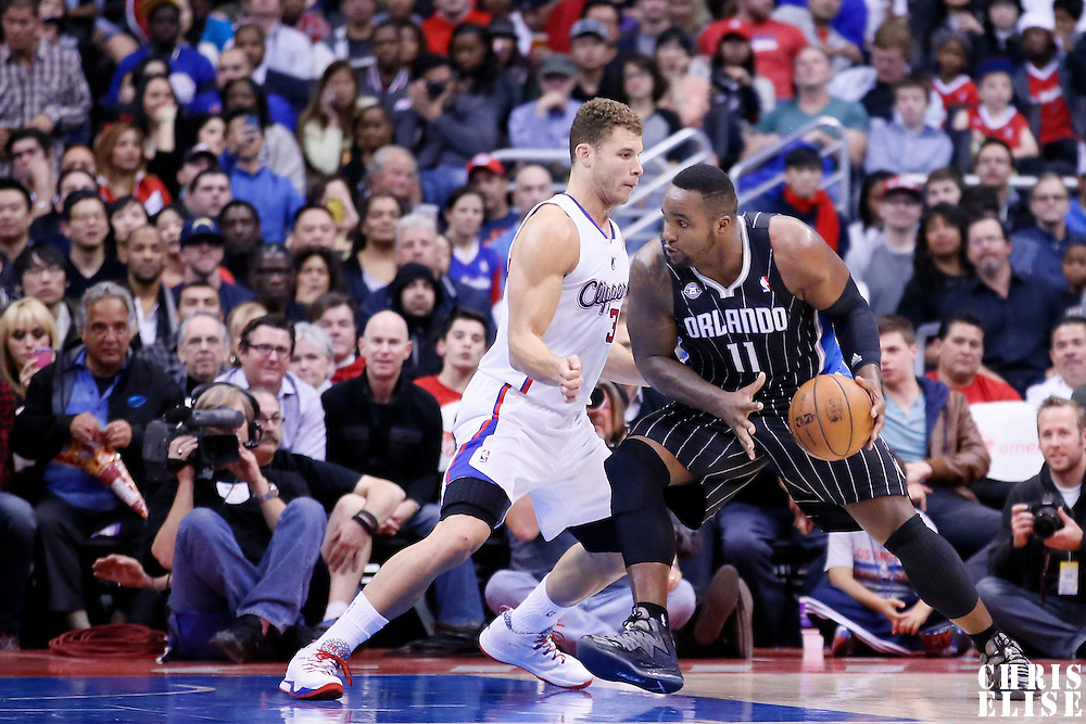 06 January 2014: Orlando Magic power forward Glen Davis (11) posts up Los Angeles Clippers power forward Blake Griffin (32) during the Los Angeles Clippers 101-81 victory over the Orlando Magic at the Staples Center, Los Angeles, California, USA.