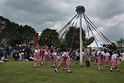 Members of the King Offa Dancers a, Thirteenth May Day Fair organised by local charity, Bexhill Old Town Preservation Society, Bexhill Old Town. 6 May 2019