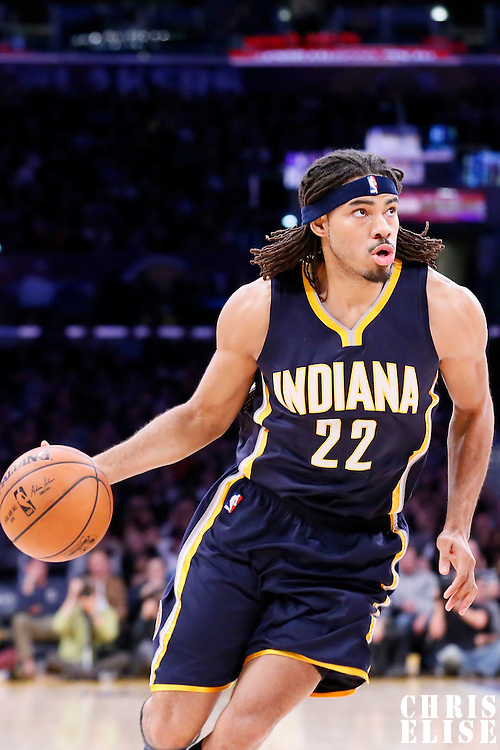 04 January 2014: Indiana Pacers forward Chris Copeland (22) drives to the basket during the Los Angeles Lakers 88-87 victory over the Indiana Pacers, at the Staples Center, Los Angeles, California, USA.