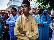 """22 AUGUST 2018 - GEORGE TOWN, PENANG, MALAYSIA:  during Eid al-Adha services at Kapitan Keling Mosque in George Town. It is the oldest mosque in George Town. Eid al-Adha, """"Feast of the Sacrifice"""" is the second of two Islamic holidays celebrated worldwide each year. It honors the willingness of Ibrahim (Abraham) to sacrifice his son as an act of obedience to God's command.     PHOTO BY JACK KURTZ"""