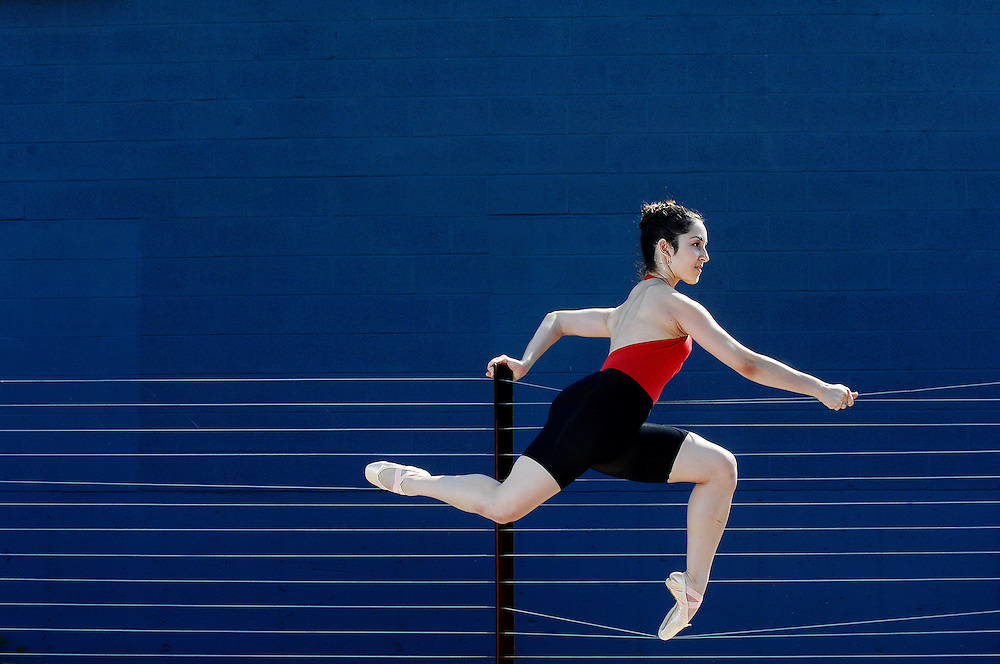 "Amelia Gandar shows off her poise and athleticism outside the Missouri Contemporary Ballet's new rehearsal studios on Orr Street in Columbia, Missouri on September 10, 2008. The company has renewed its commitment to modern choreography and ensures future performances will be ""cutting edge."""