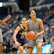 HARTFORD, CONNECTICUT- JANUARY 4:  Gabby Williams #15 of the Connecticut Huskies drives to the basket wached by team mate Napheesa Collier #24 of the Connecticut Huskies during the UConn Huskies Vs East Carolina Pirates, NCAA Women's Basketball game on January 4th, 2017 at the XL Center, Hartford, Connecticut. (Photo by Tim Clayton/Corbis via Getty Images)