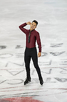 KELOWNA, BC - OCTOBER 26:  Canadian figure skater Nam Nguyen is all smiles after a spectacular performance in the mens long program at Skate Canada International held at Prospera Place on October 24, 2019 in Kelowna, Canada. (Photo by Marissa Baecker/Shoot the Breeze)