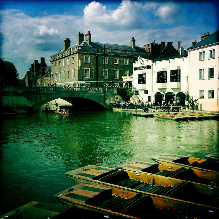Punting on the River Cam in the city of Cambridge, England