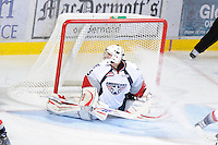 KELOWNA, CANADA, OCTOBER 5: Ty Rimmer #35 of the Tri City Americans defends the net against the Kelowna Rockets  on October 5, 2011 at Prospera Place in Kelowna, British Columbia, Canada (Photo by Marissa Baecker/shootthebreeze.ca) *** Local Caption ***Ty Rimmer;