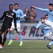 NEW YORK, NEW YORK - March 12:  David Villa #7 of New York City FC in action watched by Lloyd Sam #8 of D.C. United during the NYCFC Vs D.C. United regular season MLS game at Yankee Stadium on March 12, 2017 in New York City. (Photo by Tim Clayton/Corbis via Getty Images)