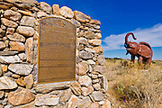 Sign and elephant sculpture at Galleta Meadows Estate, Borrego Springs, California USA