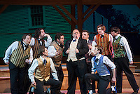 "Daniel Webster (Joe Casey - center) is surrounded by his castmates (Ralph Metcalf (Fran Page), Benjamin Darling (Tim Johnson), David Smiley (AJ Coppola), Jonathan Bliss (Sam St. Jean), James McQuesten (Will Bolton), David Haynes Collins (Matt Bouvier), William Coombs Thompson (Adam Messinger), William Leverett (Marc Willis) and Daniel Proctor (Scott Sweatt) during final dress rehearsal for the Educational Theatre Collaborative's production ""Marking the Moment"" on Tuesday evening.  (Karen Bobotas/for the Laconia Daily Sun)"