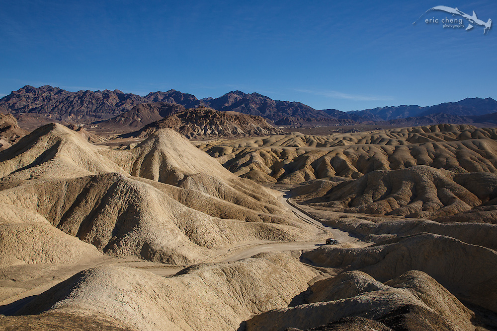 A gorgeous one-way road winds through 20 Mule Team Canyon, Death Valley, California