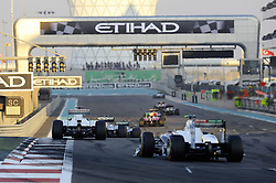 13.11.2011, Yas-Marina-Circuit, Abu Dhabi, UAE, Grosser Preis von Abu Dhabi, im Bild Michael Schumacher (GER), Mercedes GP - Adrian Sutil (GER), Force India Formula One Team - Sergio Perez (MEX) Sauber F1 Team  // during the Formula One Championships 2011 Large price of Abu Dhabi held at the Yas-Marina-Circuit, 2011/11/13. EXPA Pictures © 2011, PhotoCredit: EXPA/ nph/ Dieter Mathis..***** ATTENTION - OUT OF GER, CRO *****