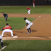 Players and umpires prepare for a play during the Rochester Red Wings V The Scranton/Wilkes-Barre RailRiders, Minor League ball game at Frontier Field, Rochester, New York State. USA. 16th April 2013. Photo Tim Clayton