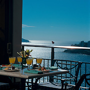 Breakfast in balcony with a great view of  Acapulco, Guerrero. Mexico.