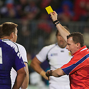 Jogn Smit, South Africa, is sent to the sin bin by referee Nigel Owens for kicking the ball away during the South Africa V Samoa, Pool D match during the IRB Rugby World Cup tournament. North Harbour Stadium, Auckland, New Zealand, 30th September 2011. Photo Tim Clayton...