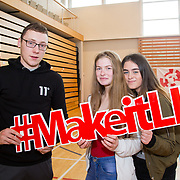 20.10.17.            <br /> Enjoying the LIT (Limerick School of Technology) open day were, Kieran Bennett, LIT and Emily McCarthy and Shauna Kiely, St. Mary's Secondary School. Picture: Alan Place